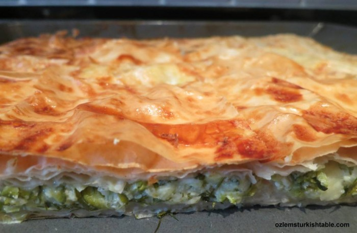 Turkish filo pie with zucchini, feta and dill; Kabakli Borek
