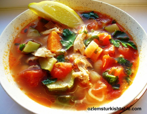 Chicken soup with vegetables, sebzeli tavuk corbasi - great way to finish leftovers