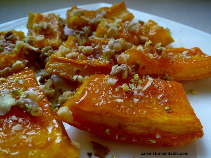 Candied pumpkin dessert with walnuts and clotted cream; Cevizli Kabak Tatlisi