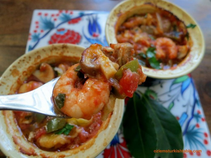 Turkish style shrimp casserole with vegetables, Karides Guvec