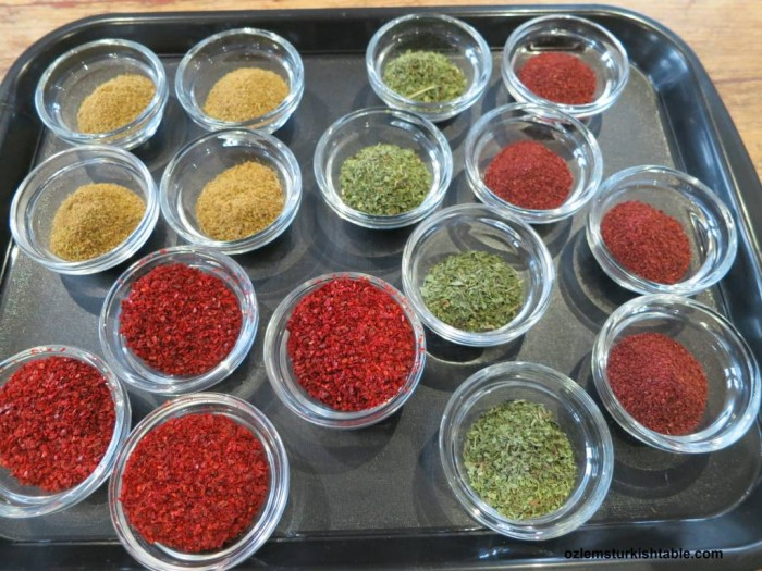 Flavoring through spices; red pepper flakes, ground cumin, sumac and dried mint ready for our class