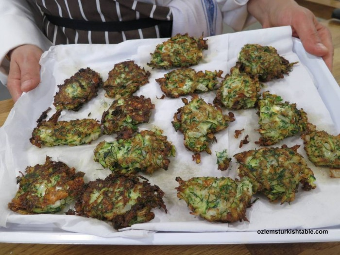 Delicious courgette/ zucchini fritters, Mucver, from our class