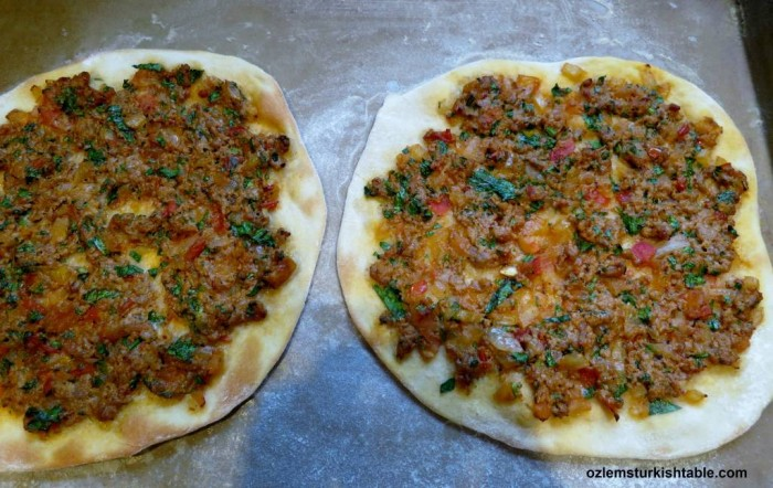 Lahmacun; Turkish thin pizzas with minced meat and vegetables topping, at our Jan. 29th Turkish Cookery Class