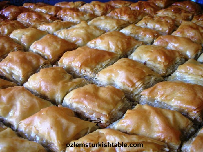 Home made baklava with walnuts
