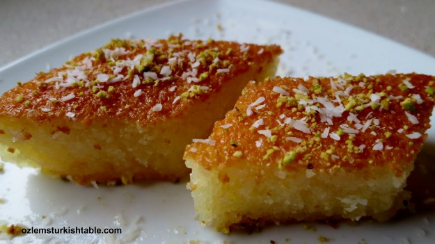 Moist Semolina Sponge Cake in a light syrup, Revani