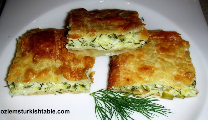 Filo pastry with courgettes, feta and dill, Kabakli Borek