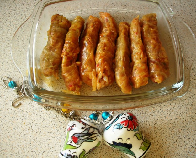 Lahana Sarma; Stuffed Cabbage Leaves with ground meat, rice, onion and spices