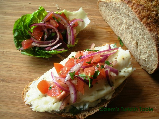 Baked fish with sumac piyaz and capers with mayo on bread 026 with OTT