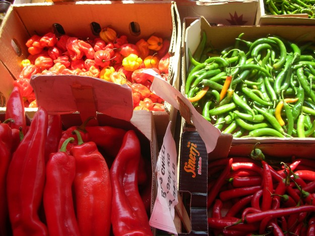 Very inviting sweet and spicy peppers at the Cheam Market, England