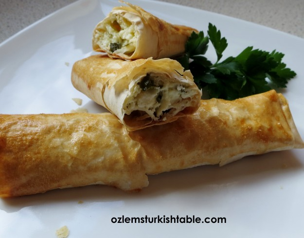 Sigara Boregi; cheese and herb filled pastry rolls