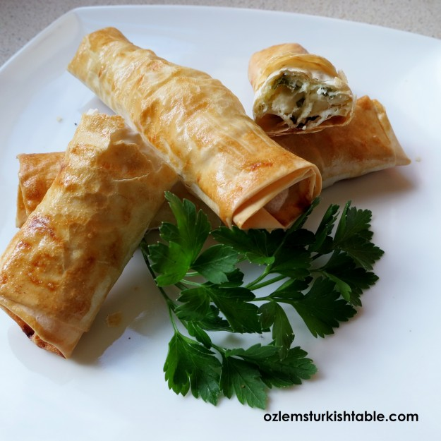 Cheese and parsley filled cigar rolls, Sigara Boregi.