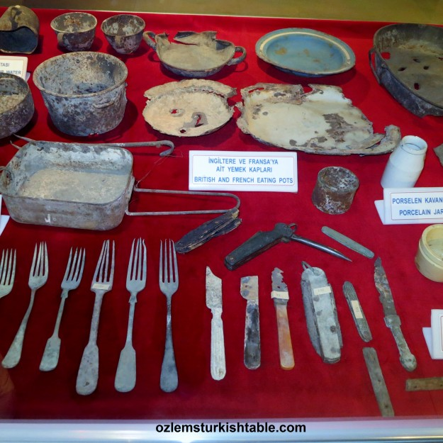 Private belongings of the soldiers neatly preserved and displayed at Gallipoli Kabatepe (War) Museum