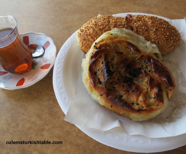 Always have time to stop; ispanakli borek- spinach pastry and simit with cheese, of course with cay