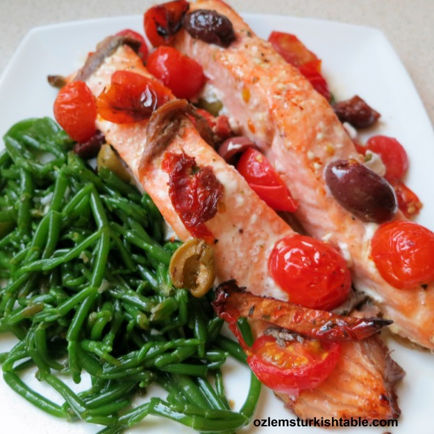Samphire in olive oil, lemon juice and garlic with the baked salmon; delicious combination.