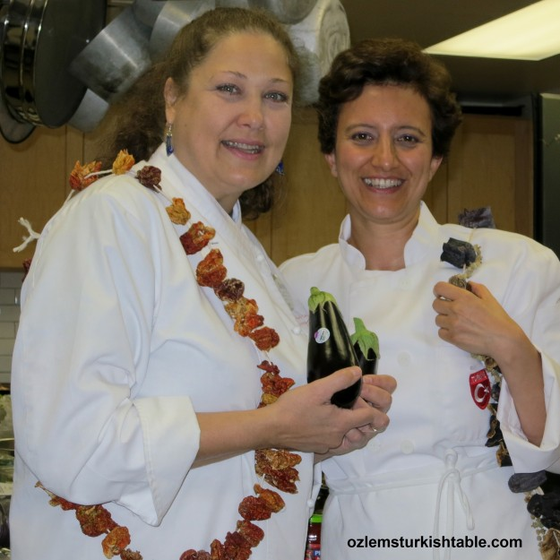It was wonderful to return to Central Market Cooking School and teach my Turkish cookery class with them; here we're about  to prepare the eggplants with dear Cindy