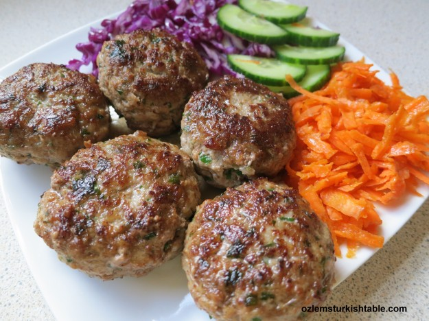 Kofte, homemade Turkish meatballs, a favorite for the children and adults.