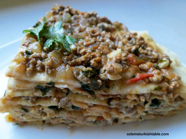 Layers of deliciousness; Kayseri Usulu Yaglama; layers of flat bread with ground meat sauce