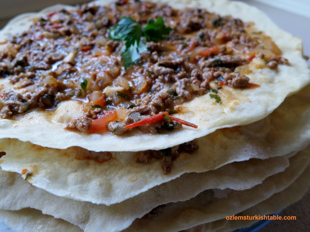 Kayseri Style Layers of Flat Breads with Ground Meat and Vegetables Topping; Kayseri Usulu Yaglama
