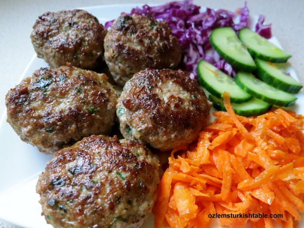 Home made kofte, Turkish meatballs, ready to enjoy!