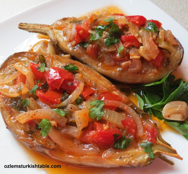 Imam Bayildi; Stuffed eggplants with onions, garlic and tomatoes; simply delicious