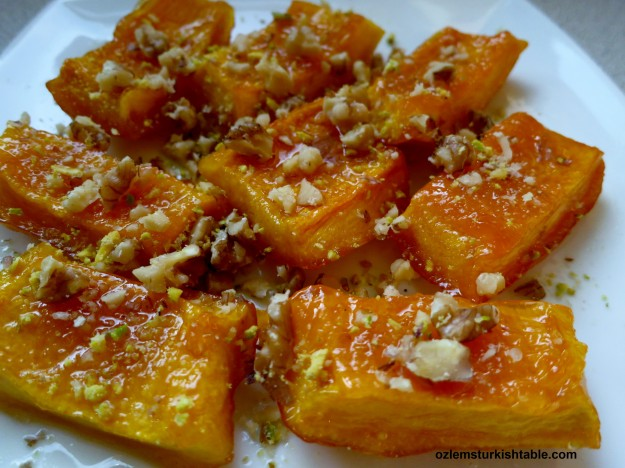 Luscious candied pumpkin dessert, Kabak Tatlisi; great for entertaining