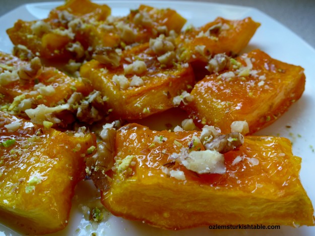 Turkish candied pumpkin dessert, Kabak Tatlisi; so easy and scrumptious