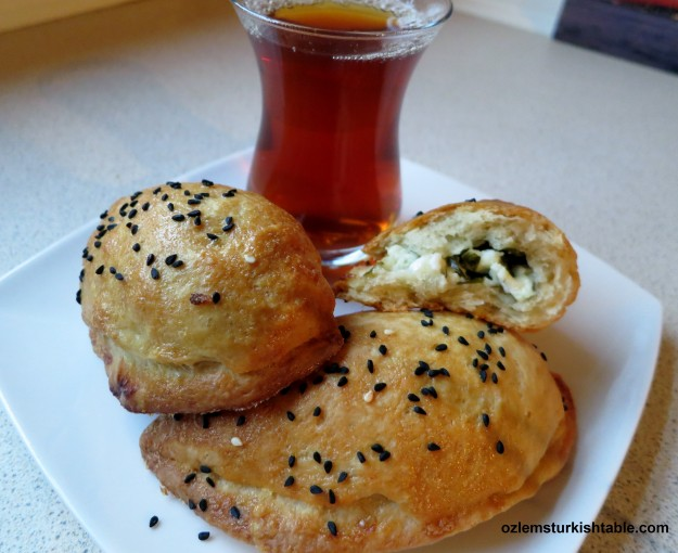 My homemade peynirli pogaca, savory pastry with feta and parsley; easy to make and delicious