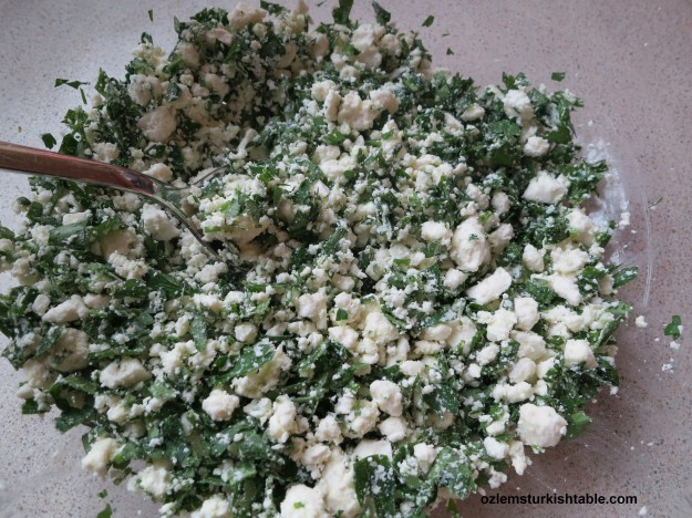 Crumbled feta cheese and fresh parsley make a delicious filling