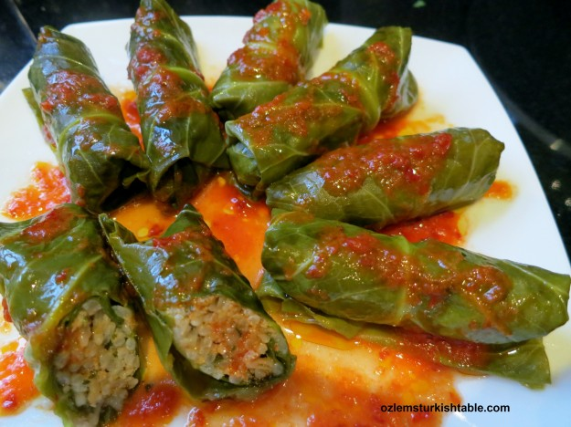 Stuffed winter greens or Swiss chard with ground meat, rice and herbs; Kis Sarmasi