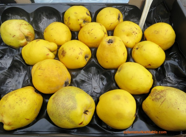Delicious, ripe quinces at the Turkish market in Cheam, England - a delightful sight!