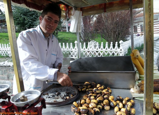 Roasted chestnut stall in Istanbul; they are iresistable.