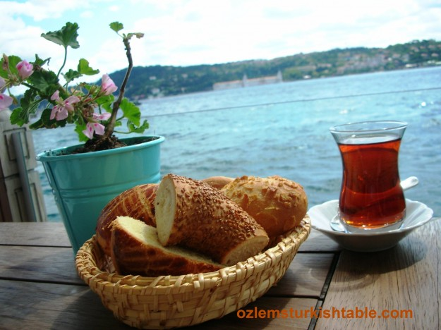 Turkish tea, Cay, Simit and Istanbul's Bosphorus; a heavenly combination