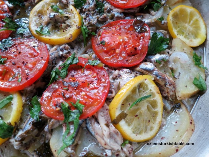 Poached anchovies or anchovy stew with vegetables; Hamsi Bugulama