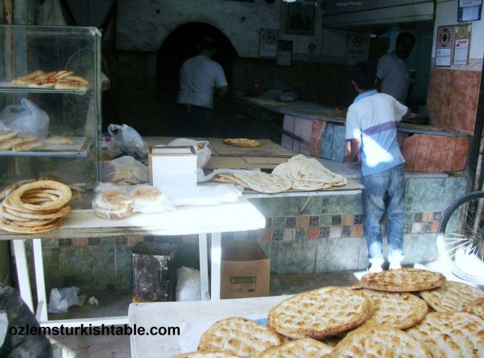 Traditional bakery, firin in Antakya. Bakers not only bake the bread but also flat breads with toppings that customers would bring.