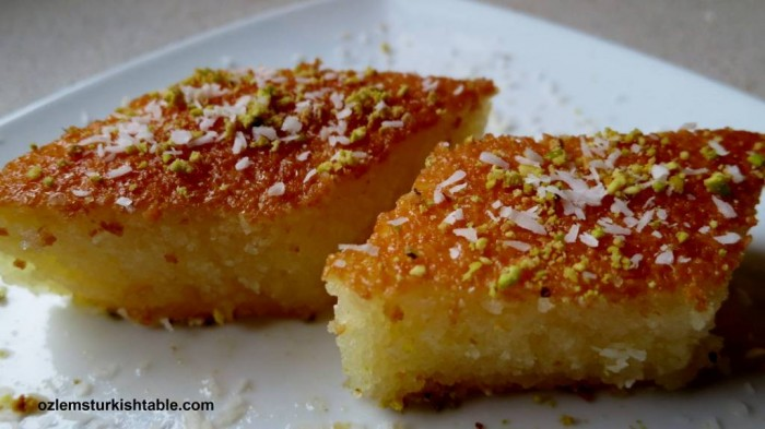 Revani; a deliciously moist semolina sponge cake in syrup