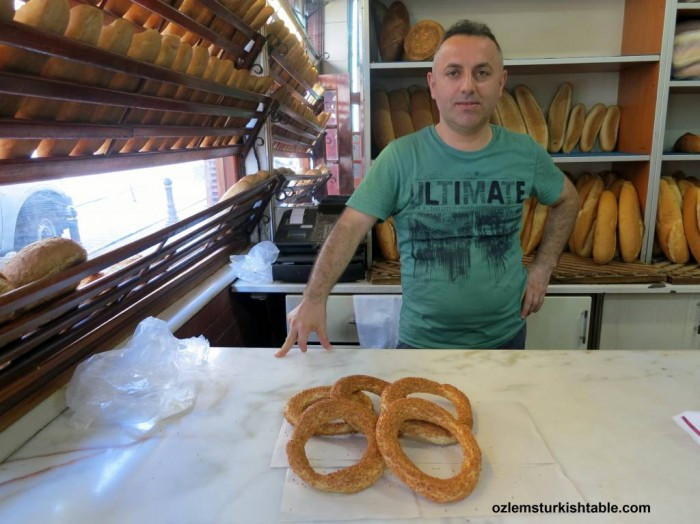 Freshly baked Simit at the local bakery, firin