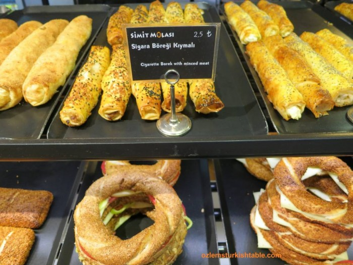 Sigara boregi, cheese rolls with filo pastry and Simit, sesame encrusted Turkish bread rings galore at Simit Molasi, Besiktas