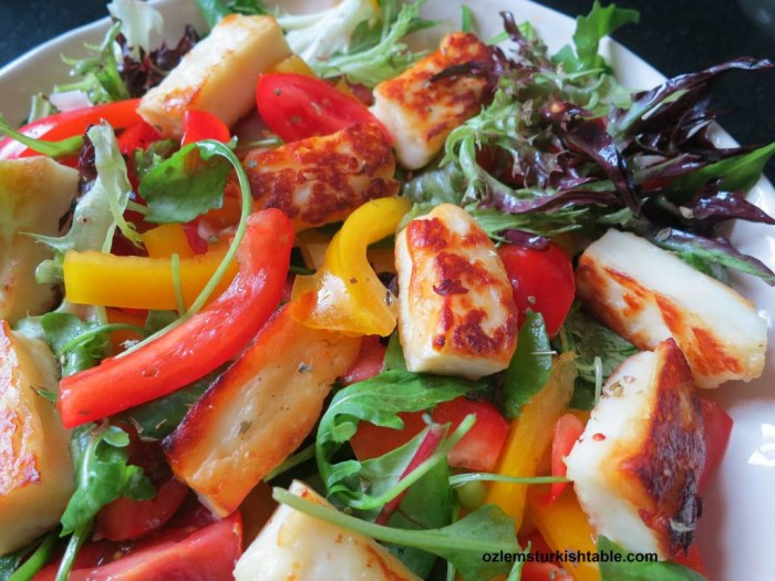 Halloumi Cheese Salad with rocket, peppers, spring onions, tomatoes; a delicious treat.