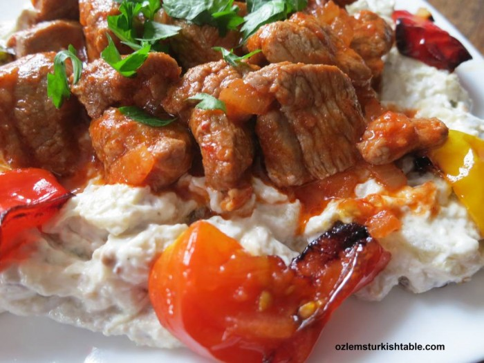 Ali Nazik Kebab; tender pieces of lamb stew served over the smoked eggplant and garlic yoghurt puree