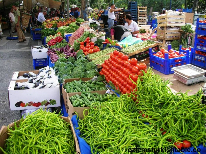 Fresh fruit and vegetables galore at the markets, pazar, in Turkey,