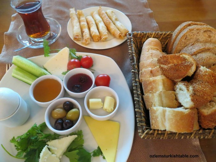 Turkish breakfast with a glass of cay; personal favorite.