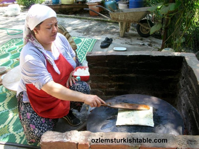Locals making Gozleme, Turkish flatbreads with fillings
