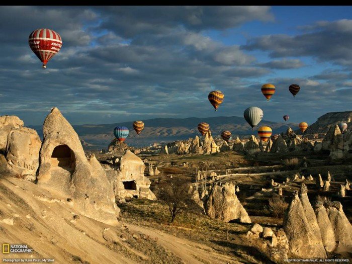 Stunning fairy chimneys at Cappadocia, over the hot air baloon; photo credit National Geographic