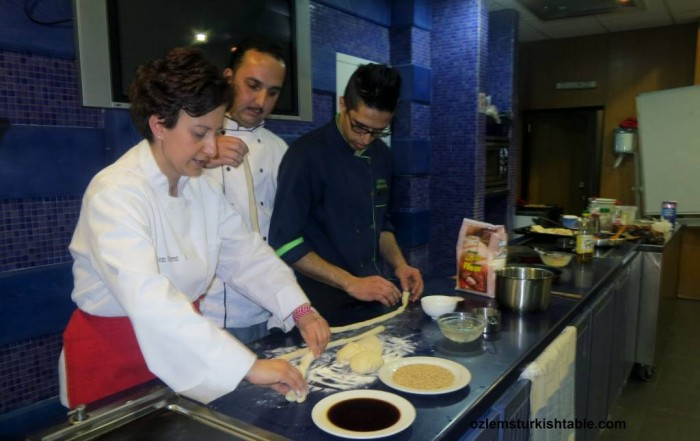 Making Simit, sesame - encrusted bread rings, during our Turkish cookery course in Amman.