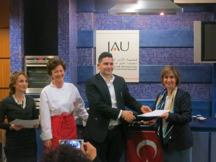Giving attendees their Certificate after our course, with Mrs Onal from Turkish Embassy in Amman - Jordan.