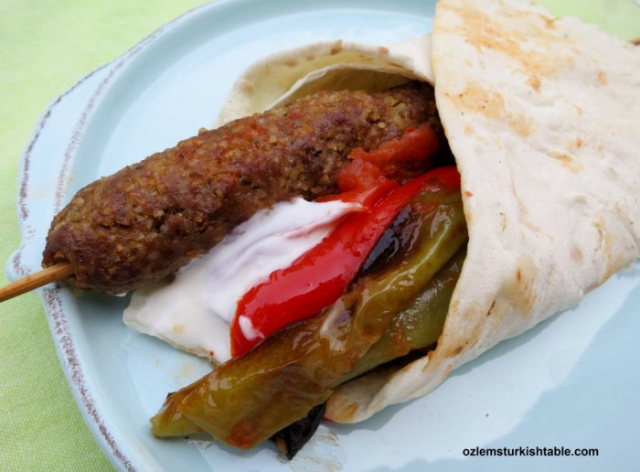 Simit Kebabi; Ground (minced meat) and bulgur kebab with roasted vegetables, Gaziantep Style