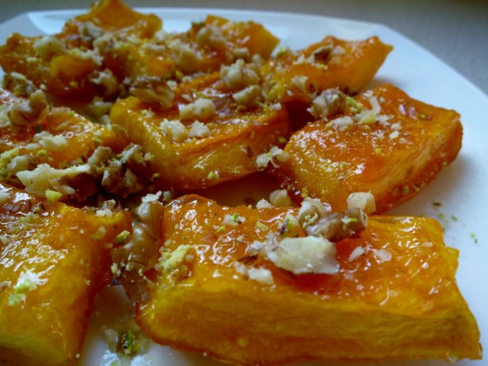 Candied pumpkin dessert with walnuts, Turkish style; Kabak Tatlisi
