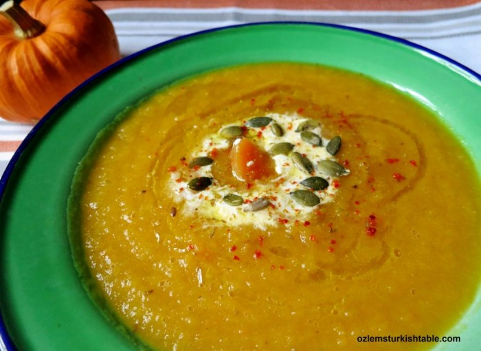 Pumpkin Soup with Cumin, Red Pepper Flakes and Yoghurt; Balkabagi Corbasi