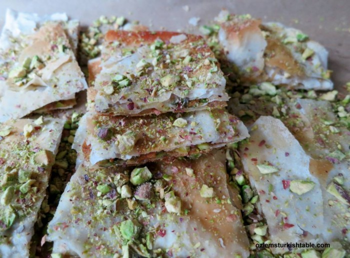 Katmer; Turkish crunchy pancakes with pistachios and clotted cream