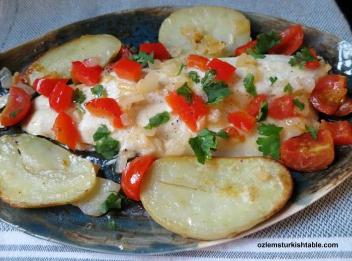 Baked Sea Bass with Vegetables in Foil; Sebzeli Firin Levrek